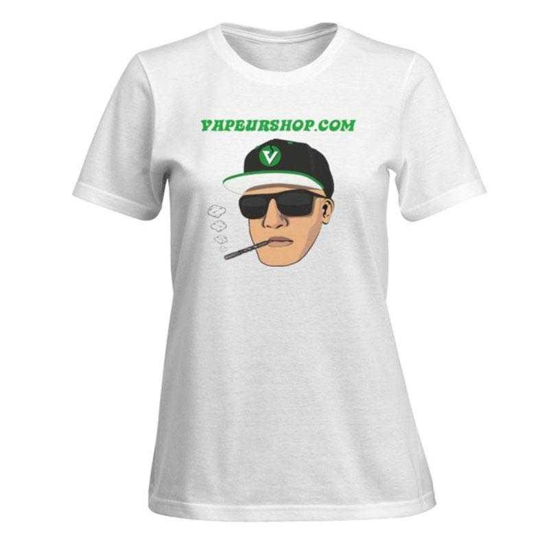 T-shirt VapeurShop Dynavap blanc Femme Premium verso