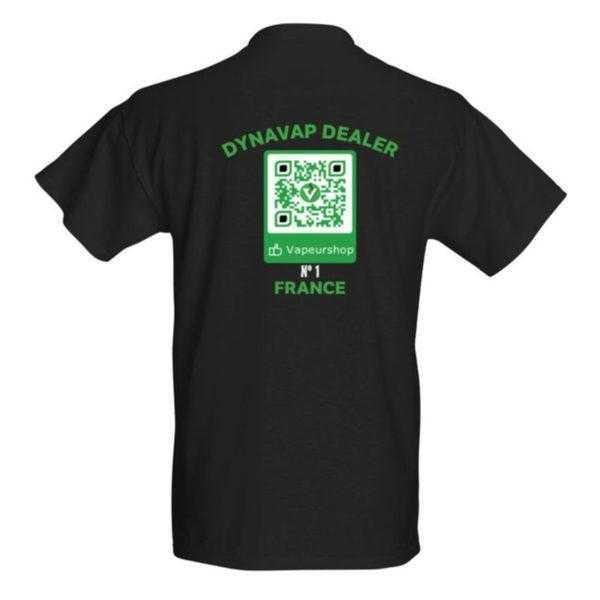 T-shirt VapeurShop Dynavap Dealer numéro 1 France noir Homme Premium verso