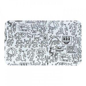 Plateau Keith Haring noir et blanc en verre